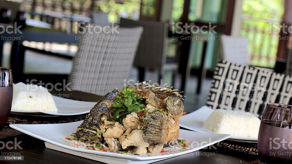 Thai Fried Fish with Rice royalty-free stock photo
