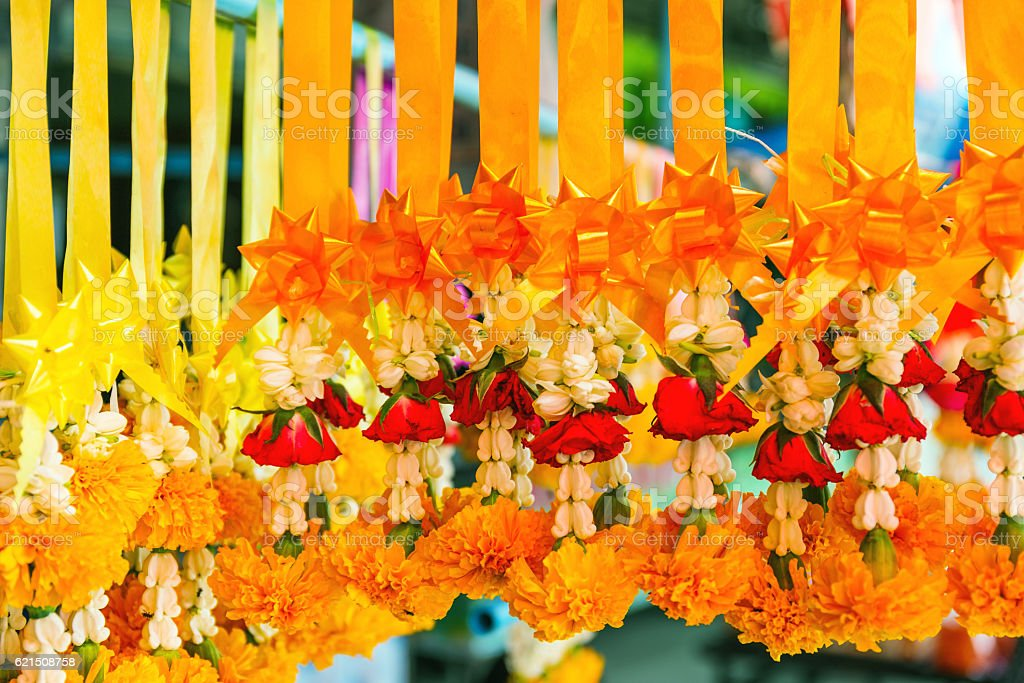 Thai garlands for sale photo libre de droits
