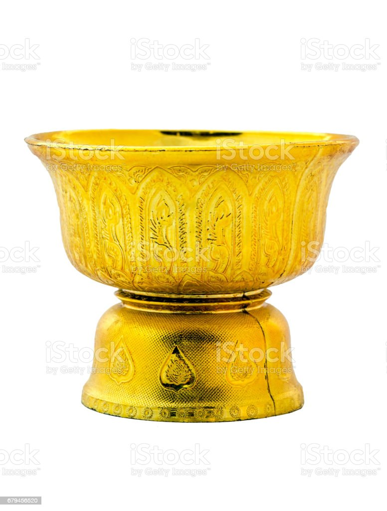 Thai Gold tray with pedestal. royalty-free stock photo