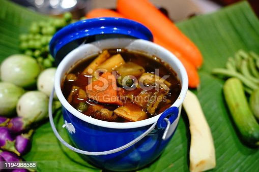 Pork green curry dish with spices set from Thailand
