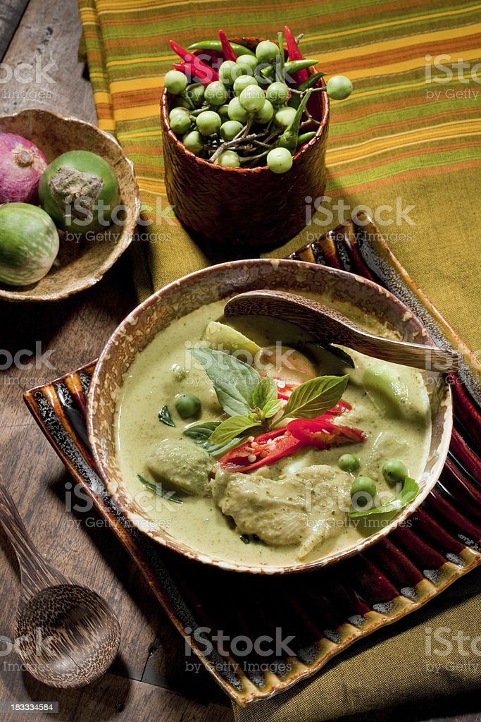 Thai Green Curry With Chicken stock photo
