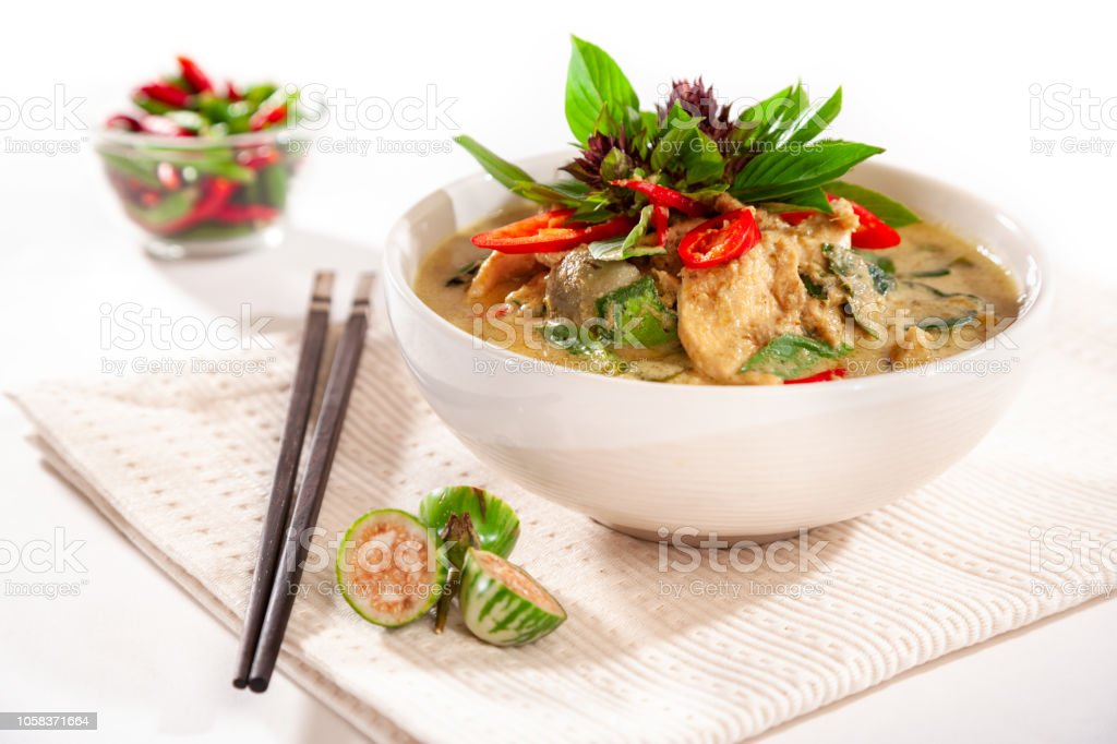 Thai Green Curry With Chicken With Modern Styling stock photo