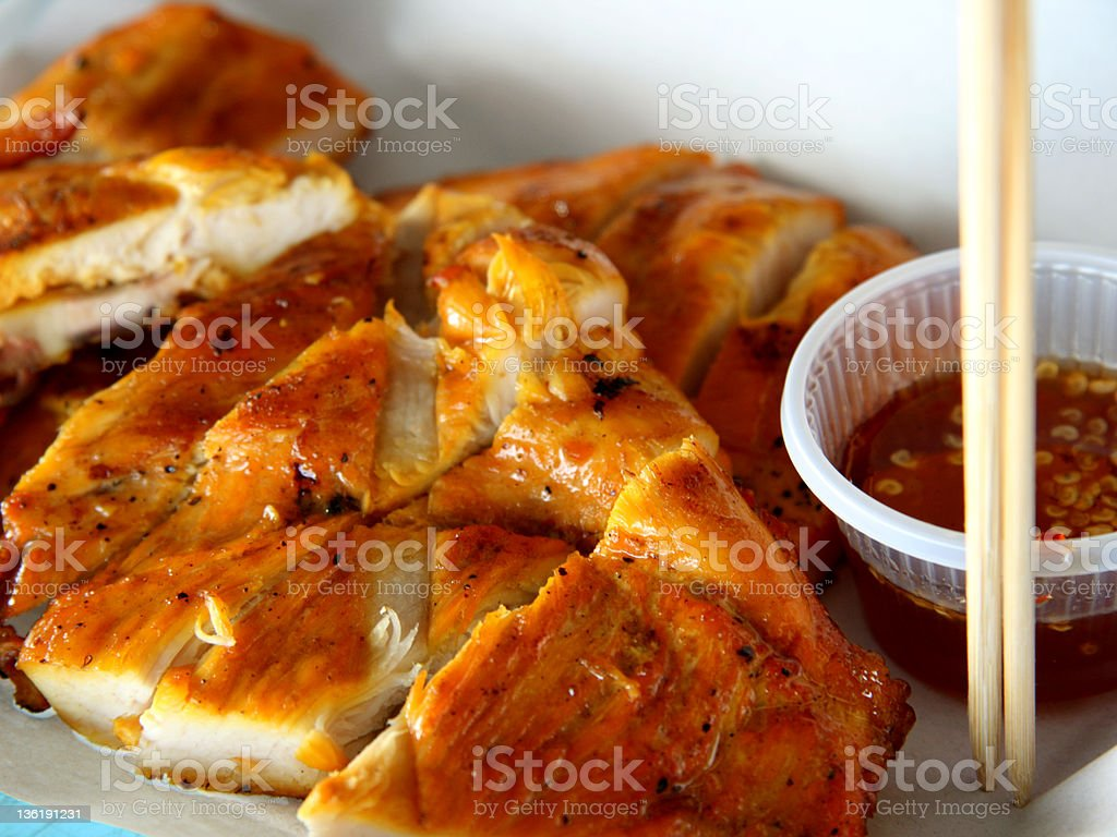 Thai Grilled Chicken with black pepper and sweet sauce royalty-free stock photo