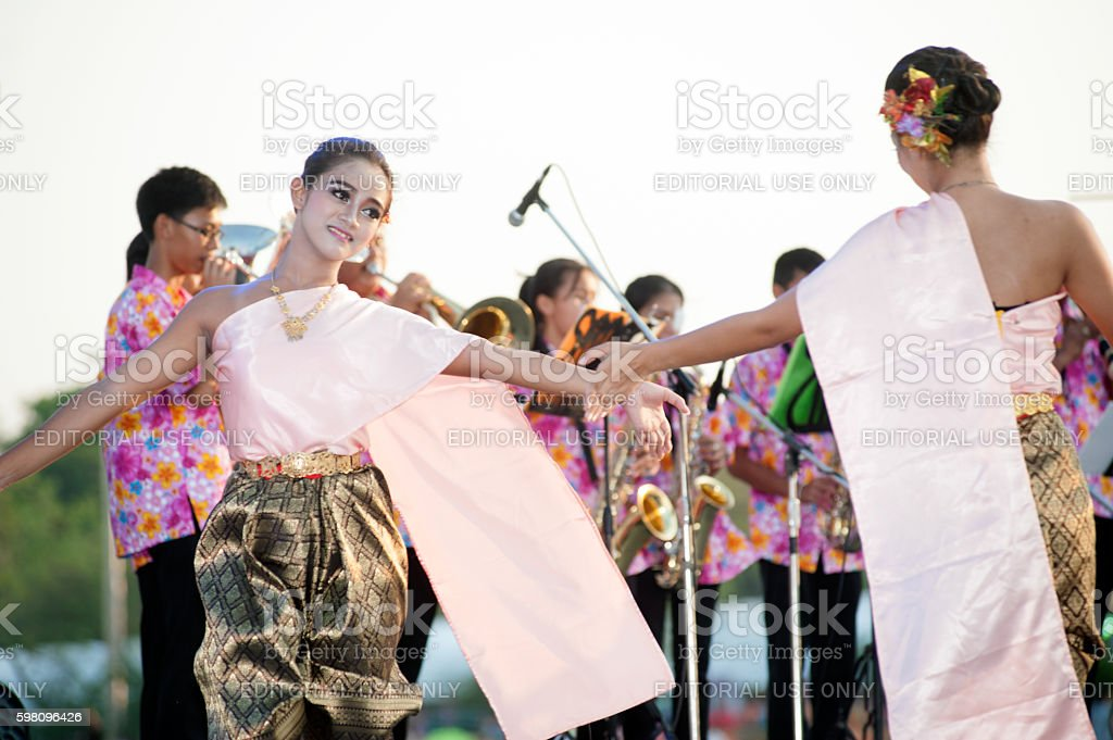 Thai Group Performing Thai Music And Thai Dancing Stock
