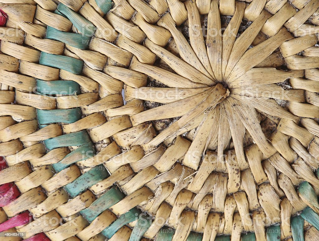 Thai handcraft of bamboo weave pattern royalty-free stock photo