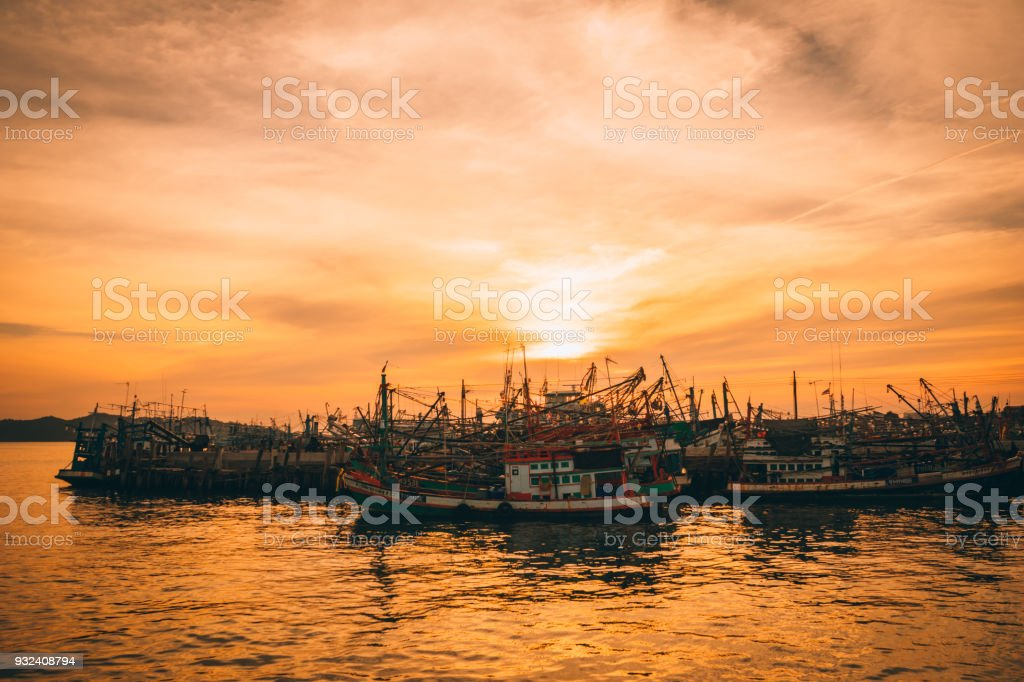 Thai Harbor Sunset stock photo