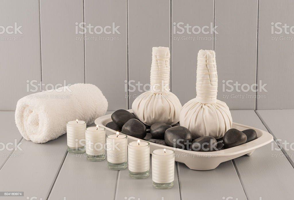 Thai Herbal Massage Balls on Hot Stones stock photo