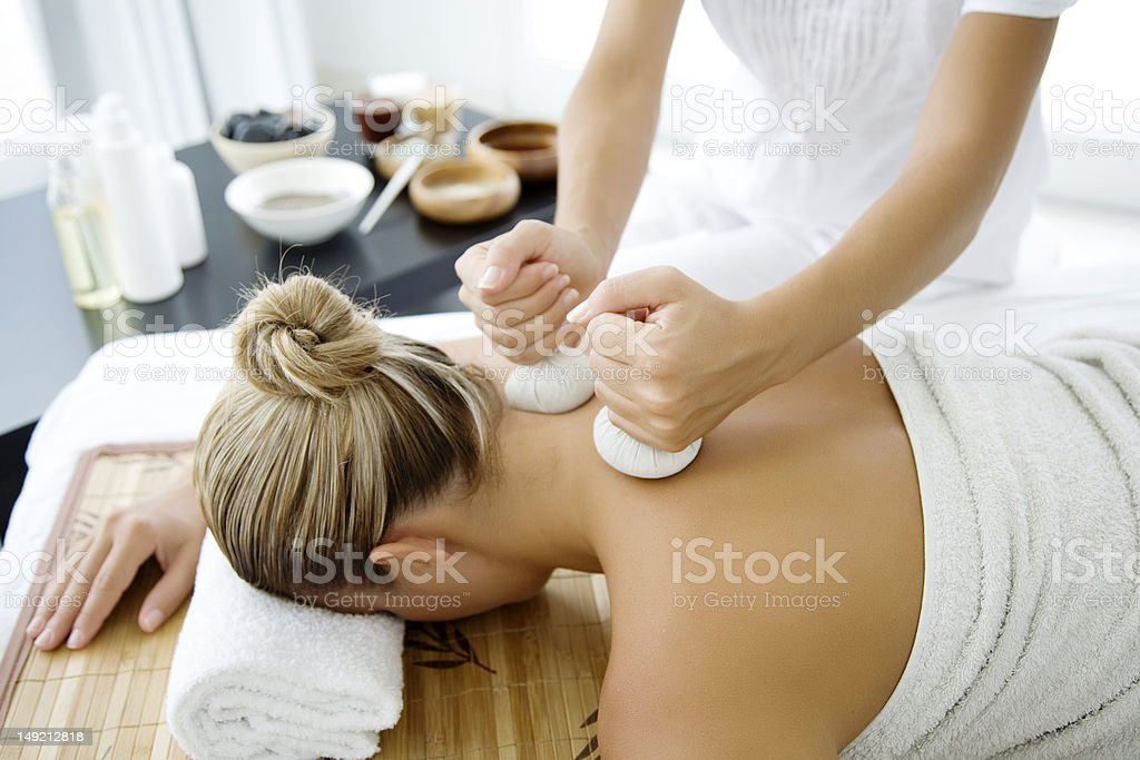 thai herbal massage stock photo
