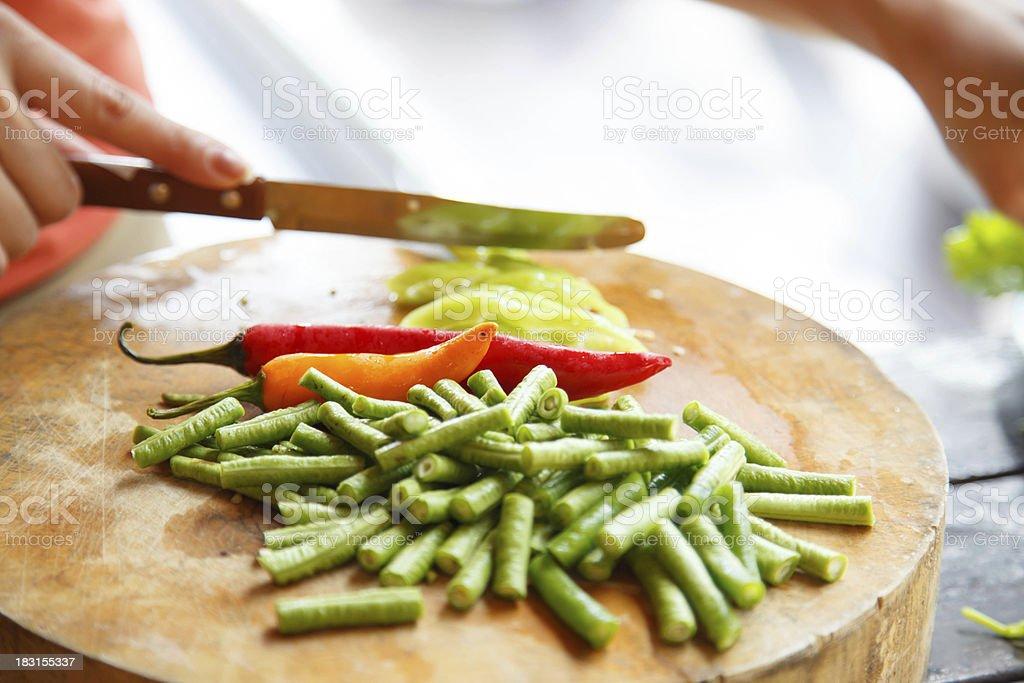 Thai herbs on cut board preparation royalty-free stock photo