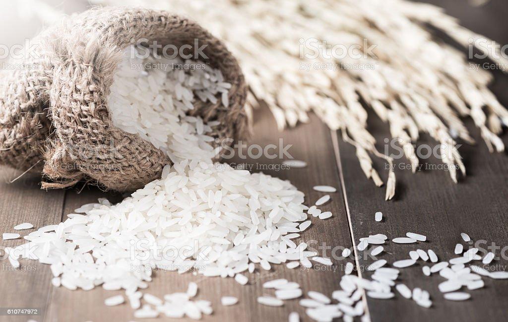 Thai jasmine rice and small sack stock photo