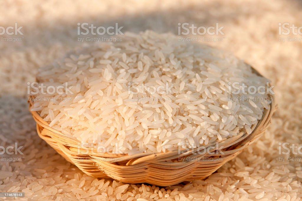 Thai Jasmine White Rice in a basket. stock photo