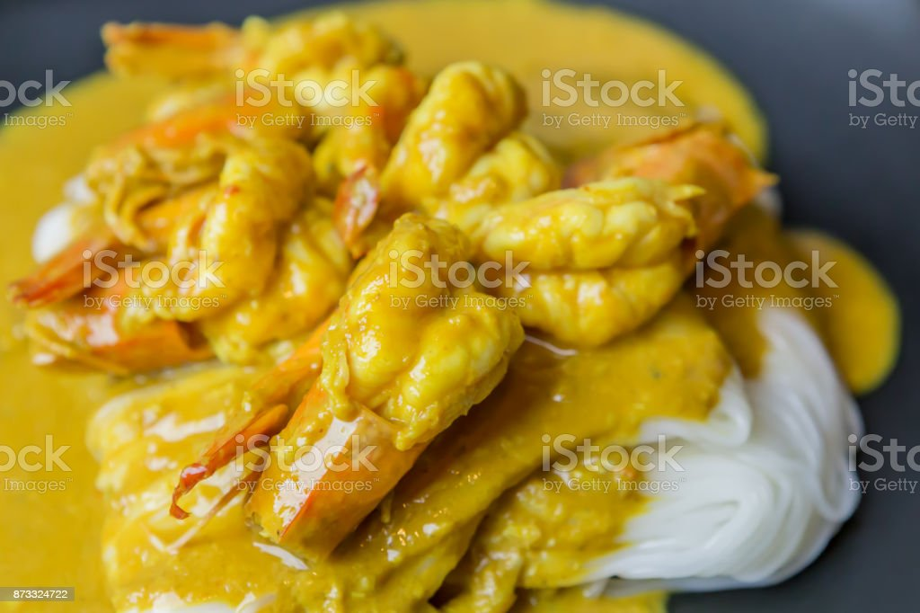 Thai Khanom Jeen, Rice Noodles with Shrimp, Shrimp paste stock photo