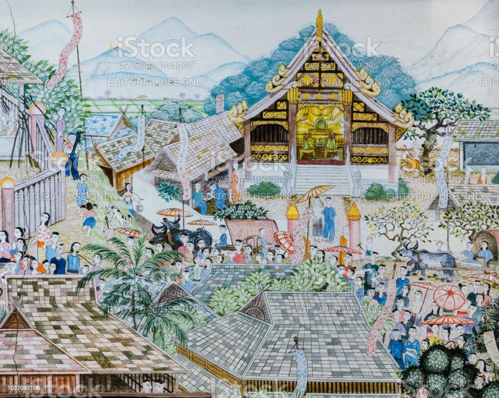 Photo Libre De Droit De Lanna Thai Peinture Murale De La Vie