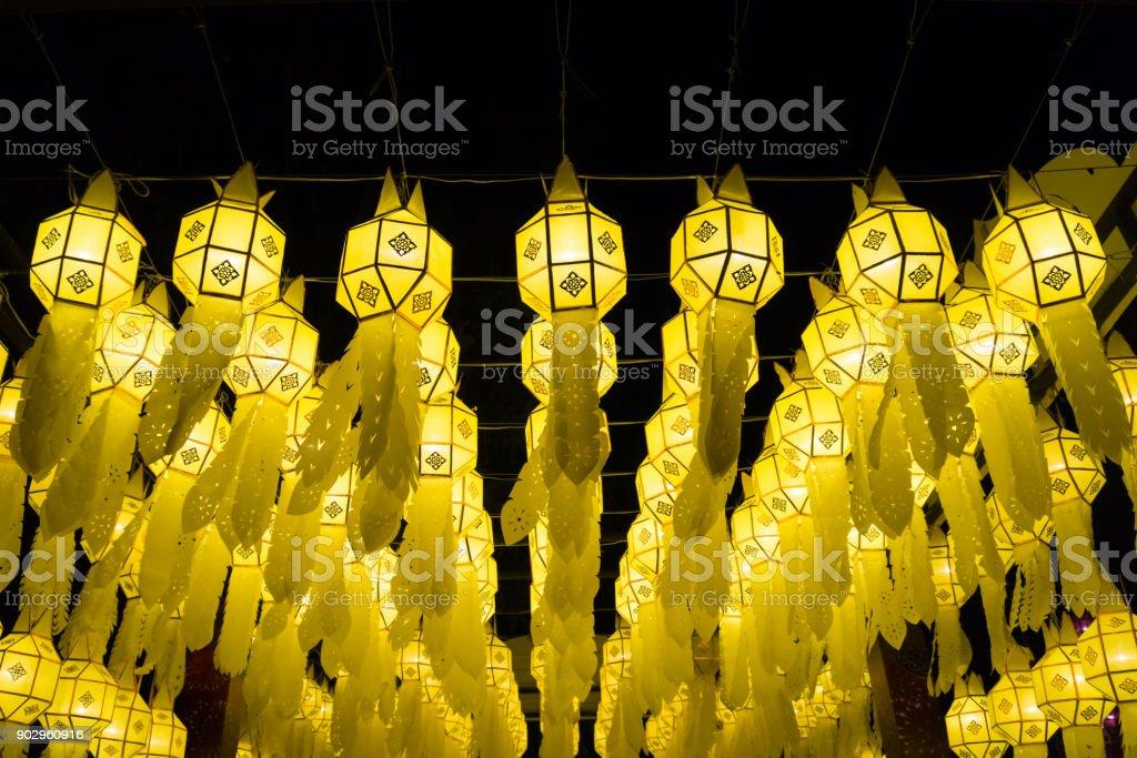 Thai Lanna style paper lamp decoration at night stock photo