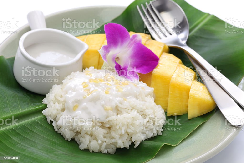 thai mango sticky rice, khao niaow ma muang stock photo