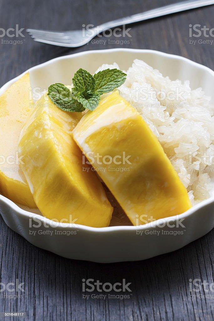 Thai Mango Sticky Sweet Rice Dessert stock photo