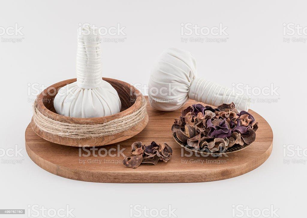 Thai Massage Balls with Dried Herbs stock photo