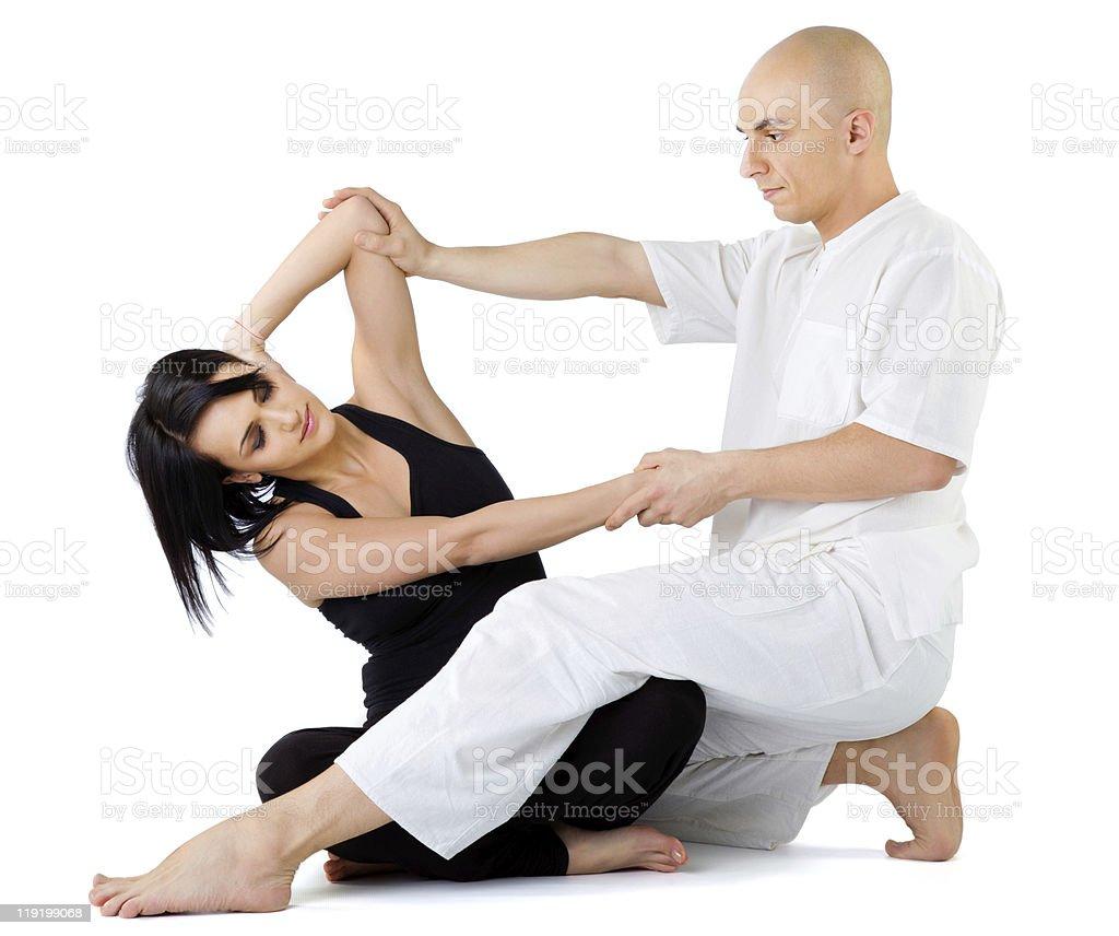 Thai massage stretching royalty-free stock photo