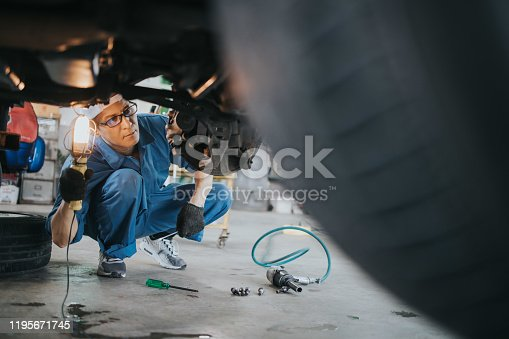 ian car mechanic with  lamp working at auto repair shop, Bangkok Thailand,copy space