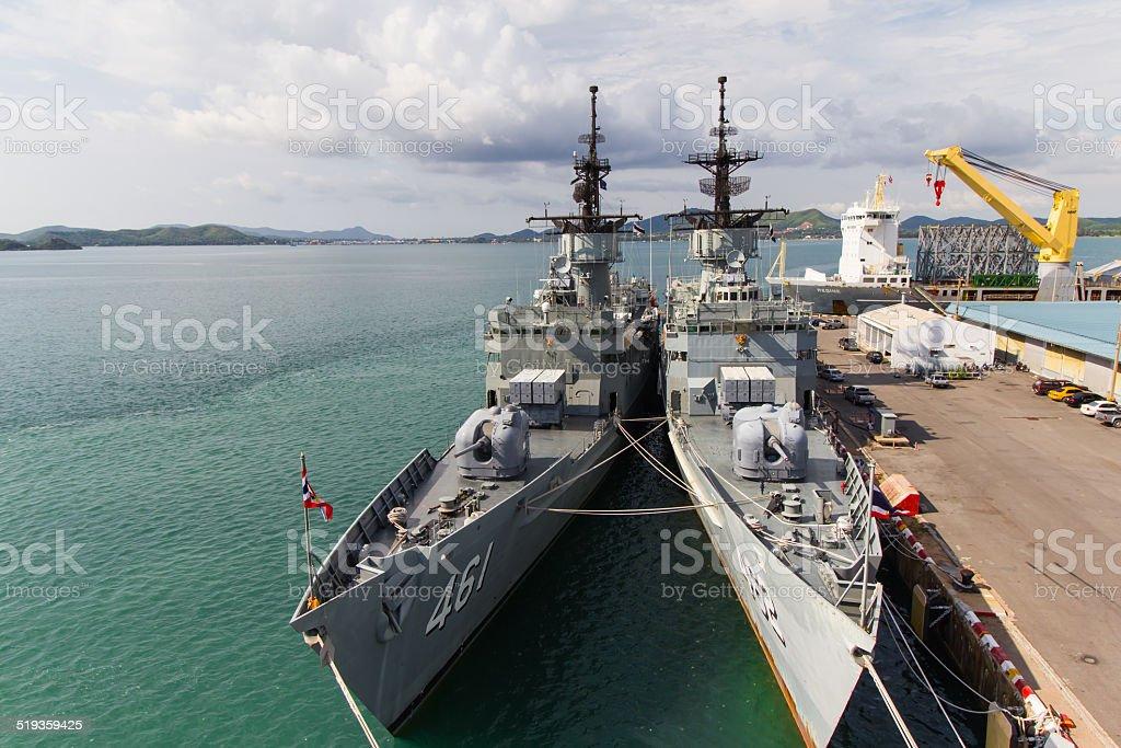 Thai Military Battleship stock photo