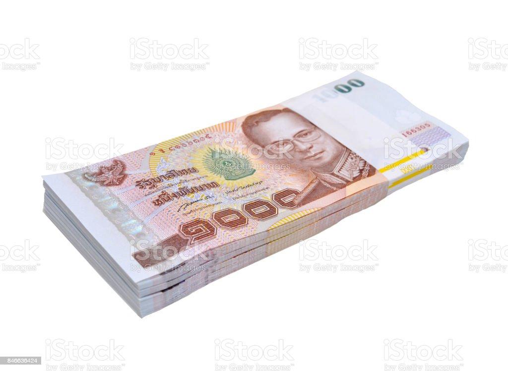 Thai money 1000 baht banknotes stock photo