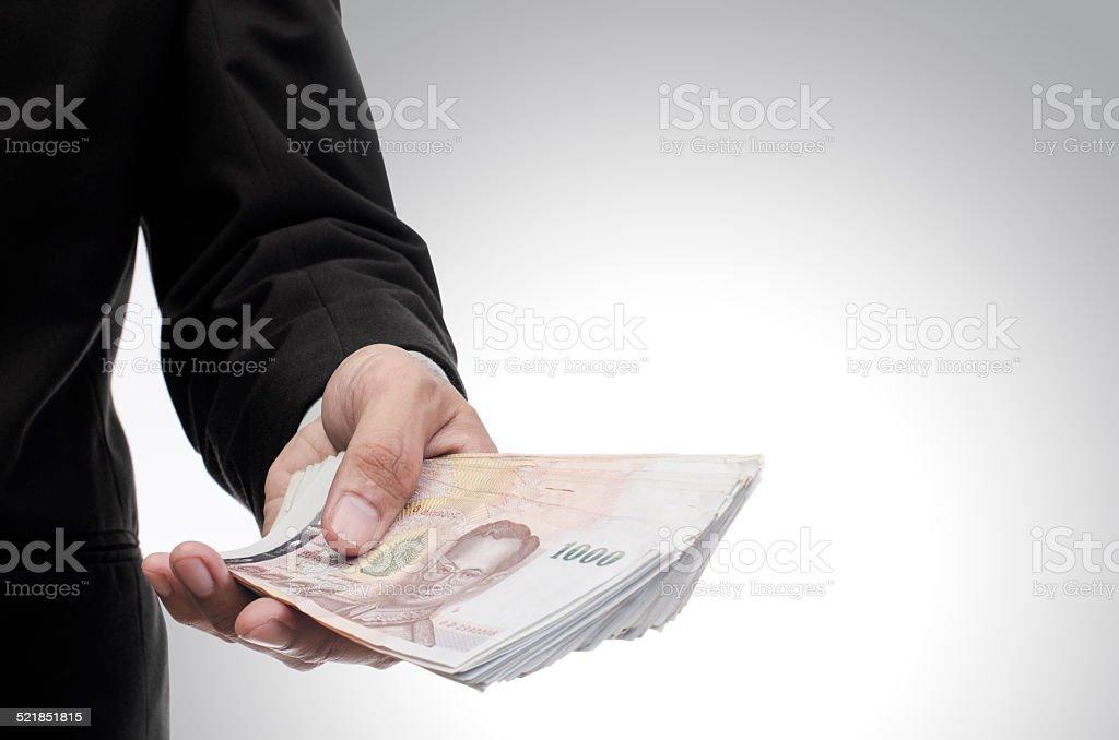 Thai money in hand stock photo