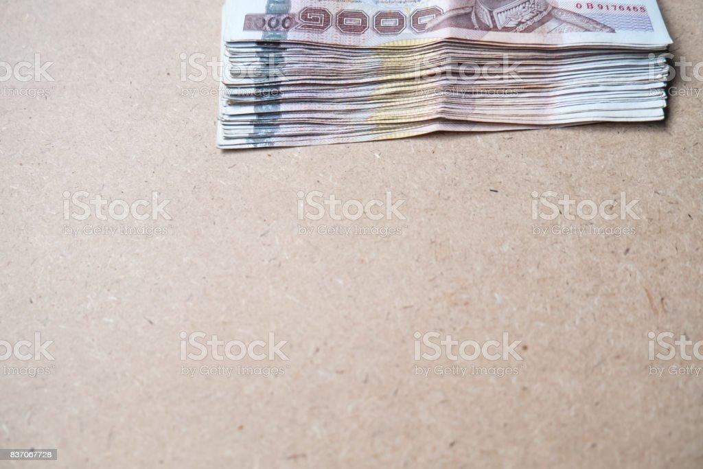 Thai money on brown background stock photo