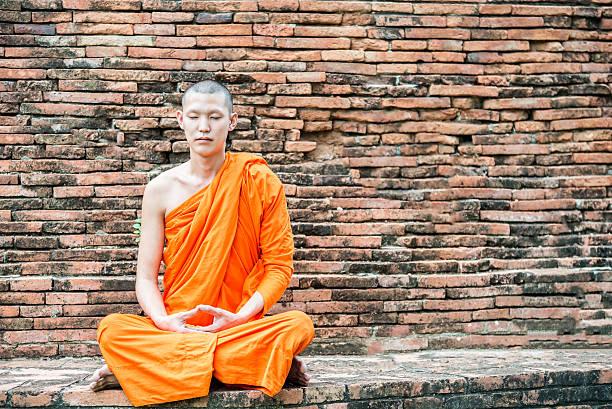 monje meditación en templo tailandés en ayuthaya, tailandia - hermano fotografías e imágenes de stock
