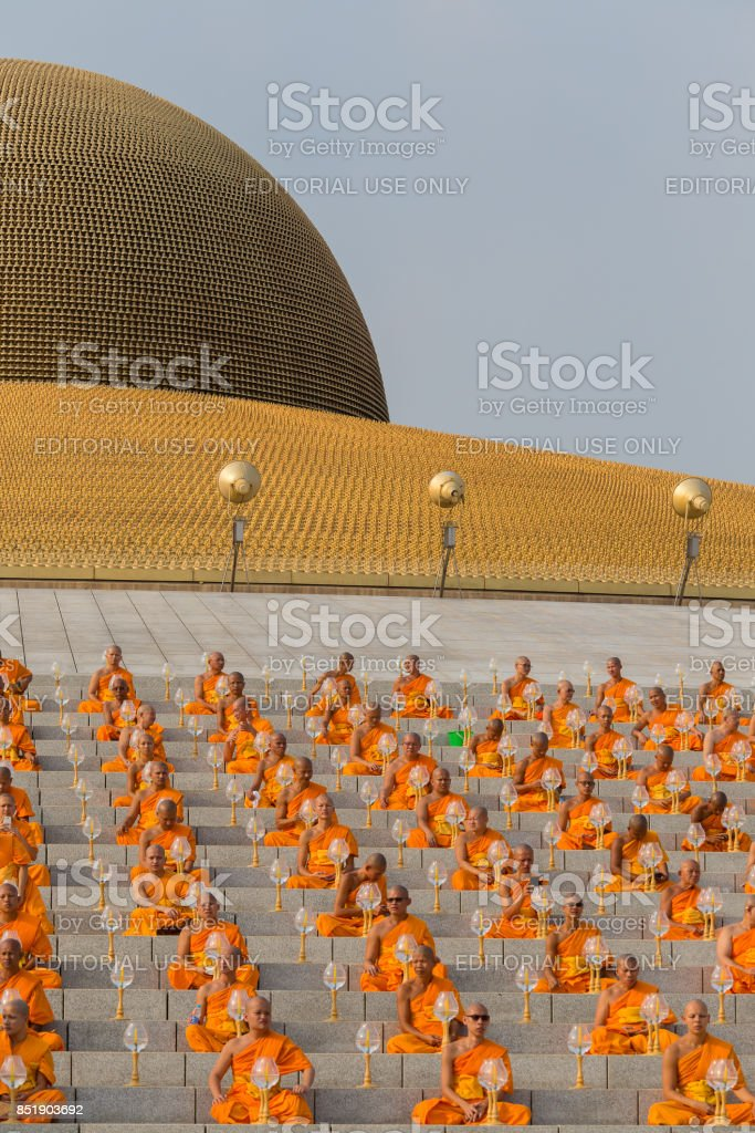 Thai Monks During Buddhist Ceremony Magha Puja Day In Wat Phra