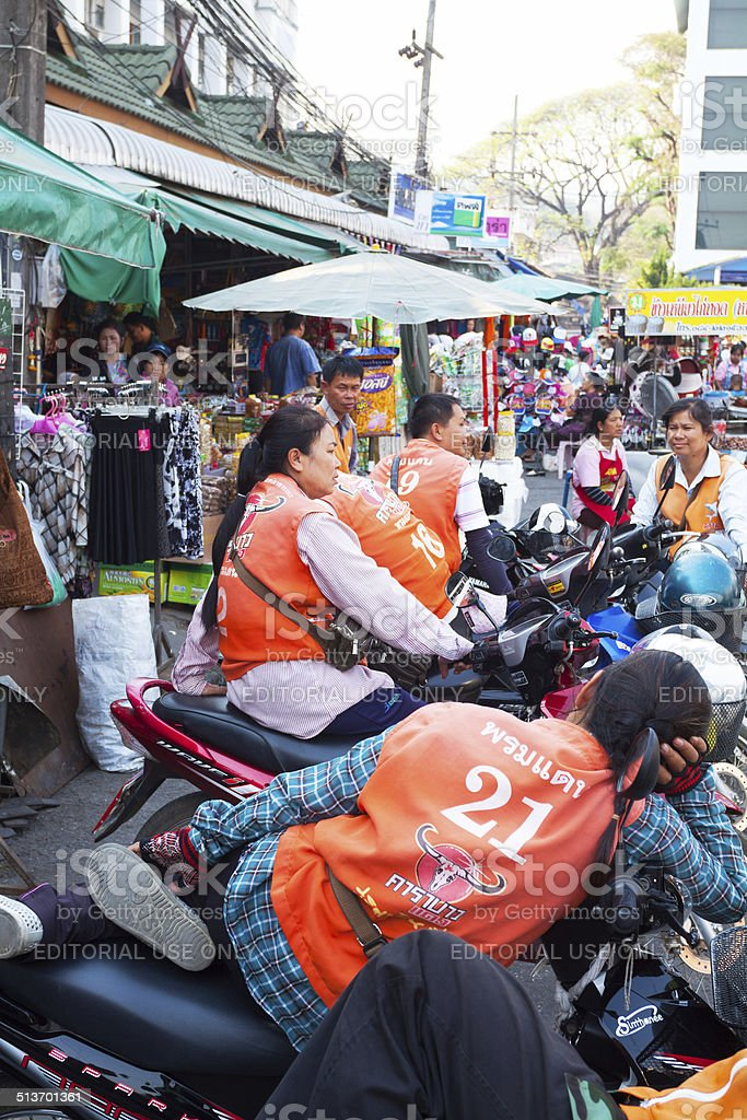 Thai motorcycle taxi drivers stock photo