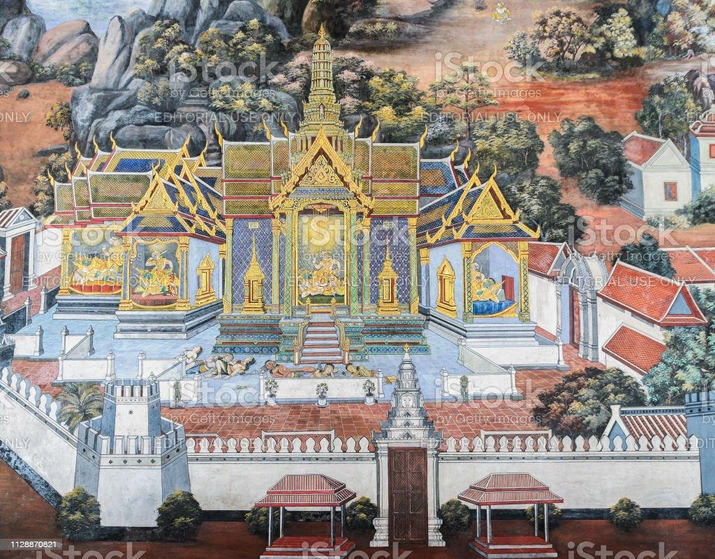 Thai Wandmalerei Fresko des Ramakien-Epos im Grand Palace in Bangkok, Thailand – Foto