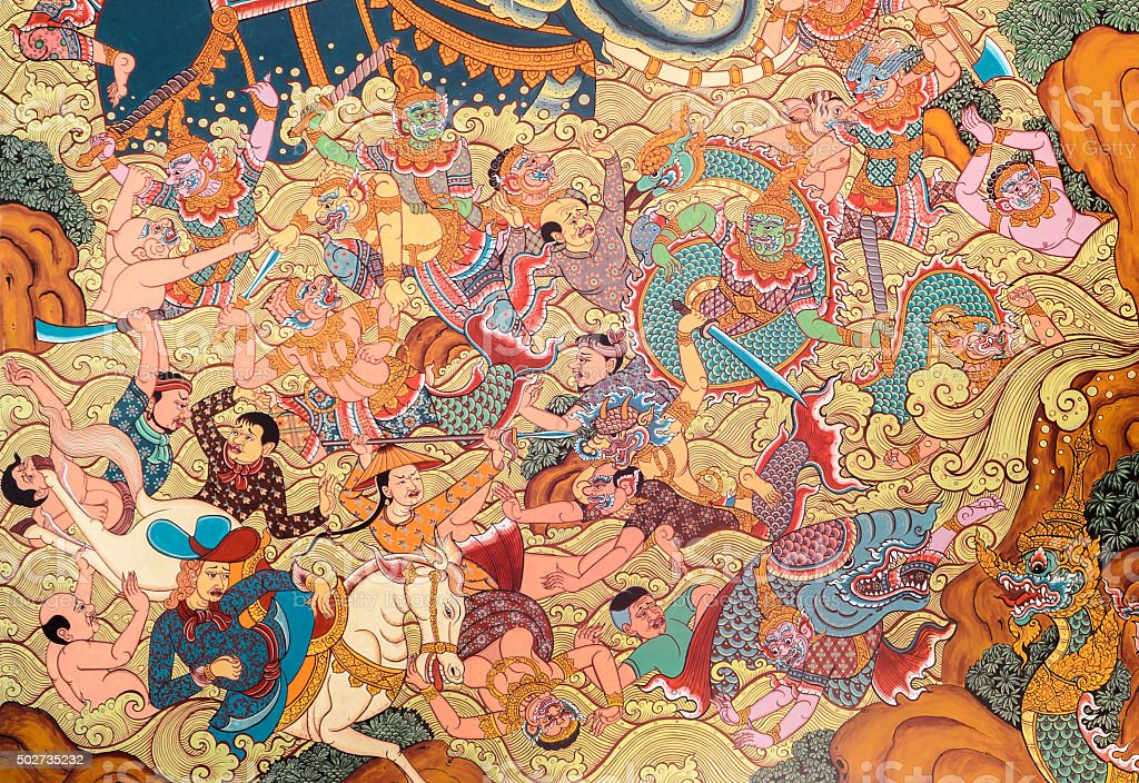 Thai mural painting art stock photo