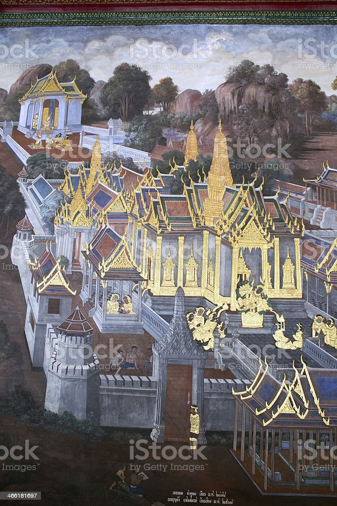 Thai Mural painting at Wat Phra Kaew in Bangkok stock photo