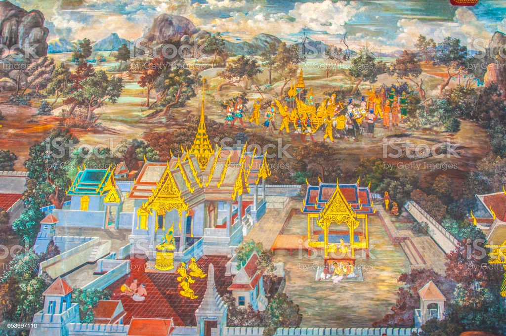 Thai Mural Paintings on the wall, Wat Phra Kaew at Bangkok, Thailand. The scenes of Ramayana story. stock photo