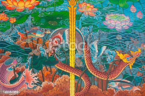 Thai Mural on Thai temple wall