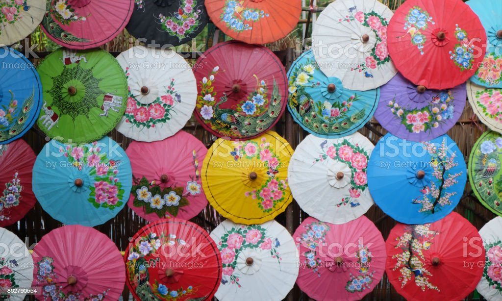 Thai native umbrella background stock photo