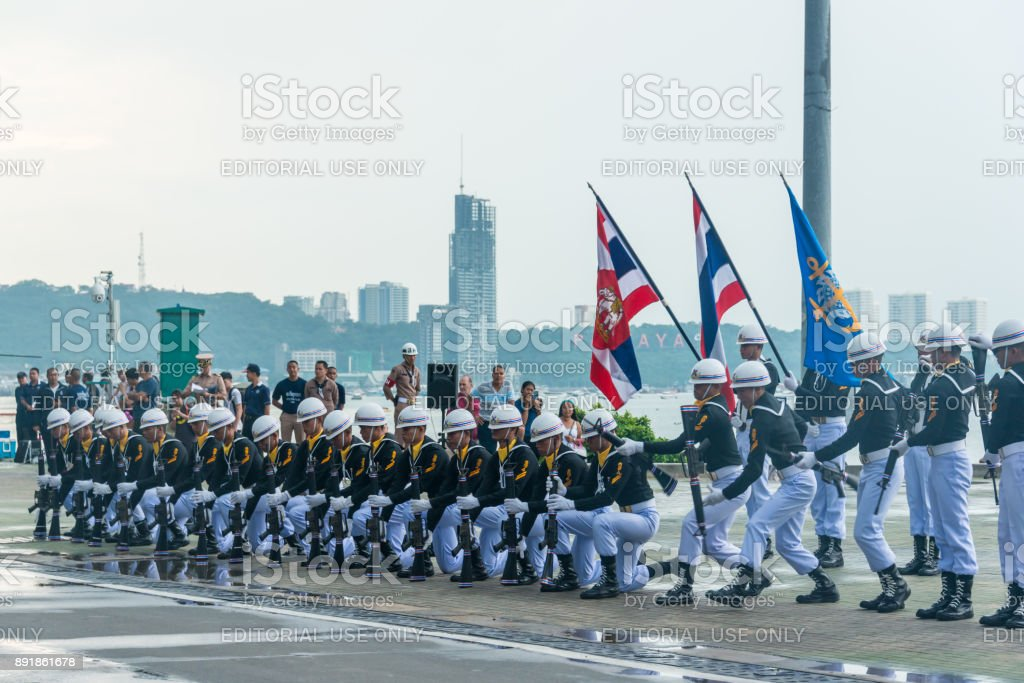 Thai navy demonstrating Fancy Drill in International Fleet Review 2017 stock photo