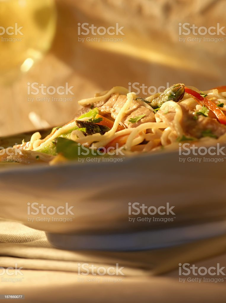 Thai Noodle Stir Fry with Peanut Sauce royalty-free stock photo