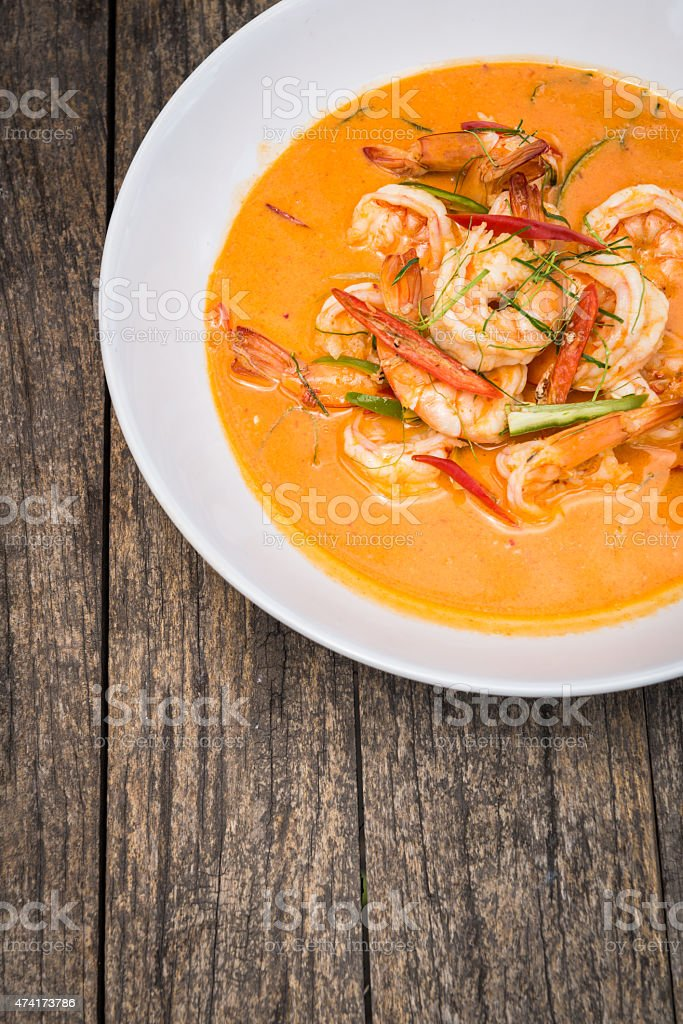 Thai Panang Curry with shrimp stock photo