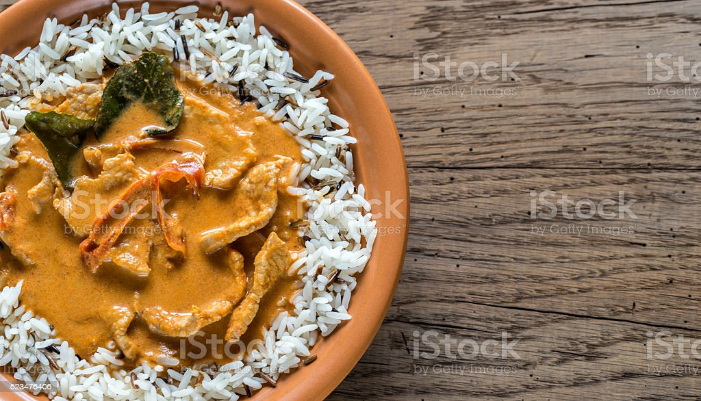Thai panang curry with white and wild rice stock photo