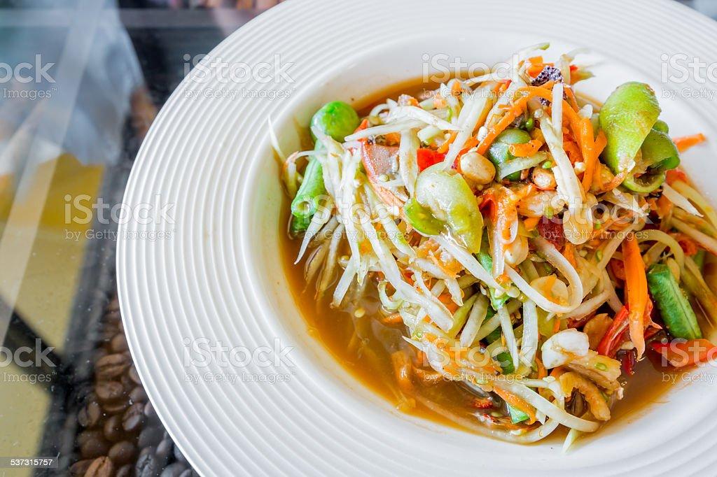 Thai papaya salad,Som tum. stock photo