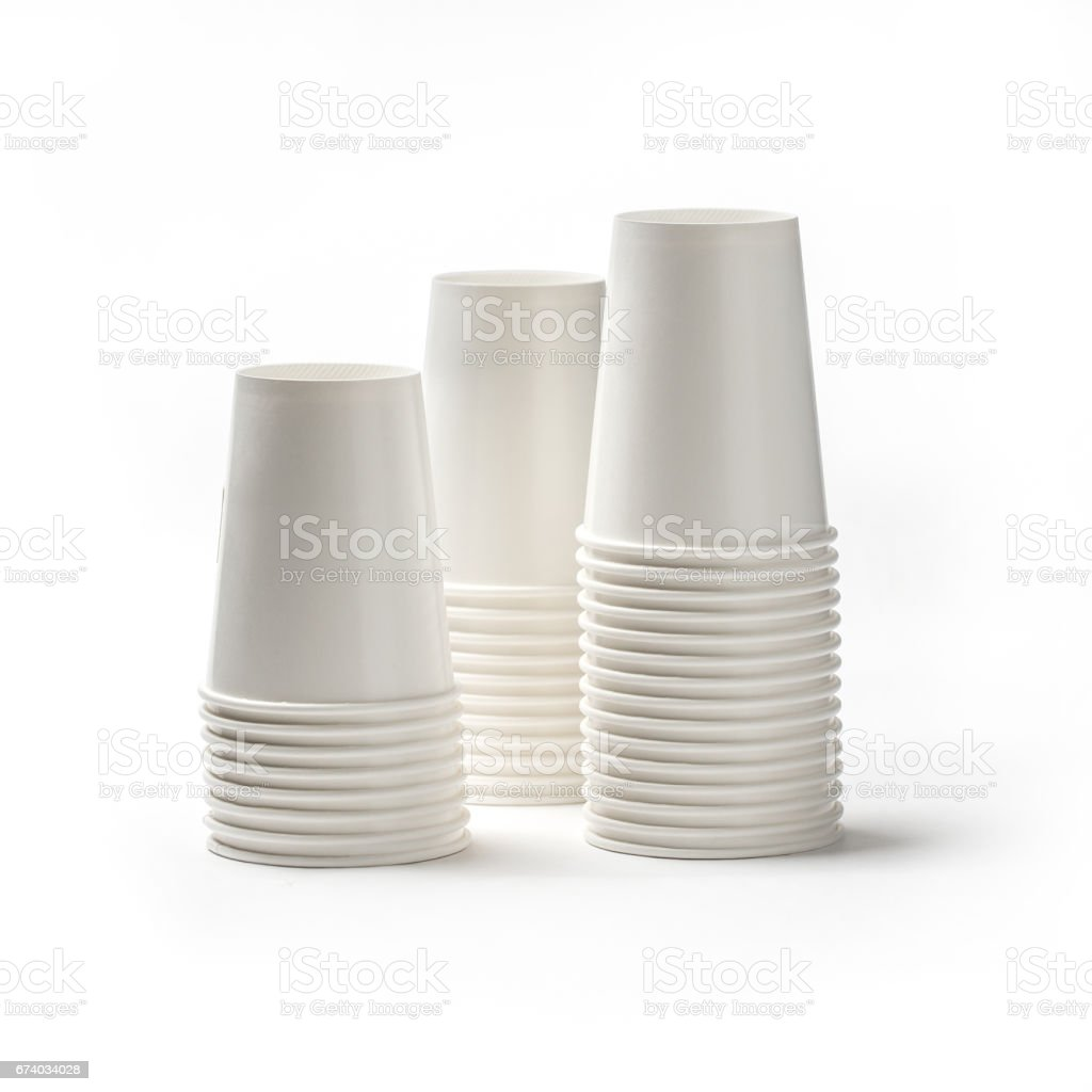 Thai paper coffee cup on white background. royalty-free stock photo