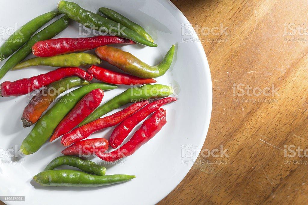 Thai páprika o chili en placa foto de stock libre de derechos