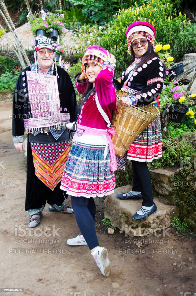Thai people and foreigner travelers wearing costume traditional of hmong stock photo