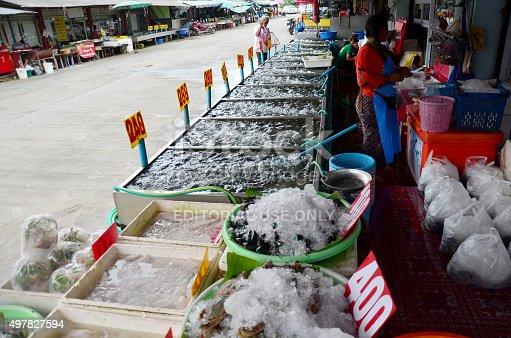 635931692istockphoto Thai people sale seafood at market 497827594