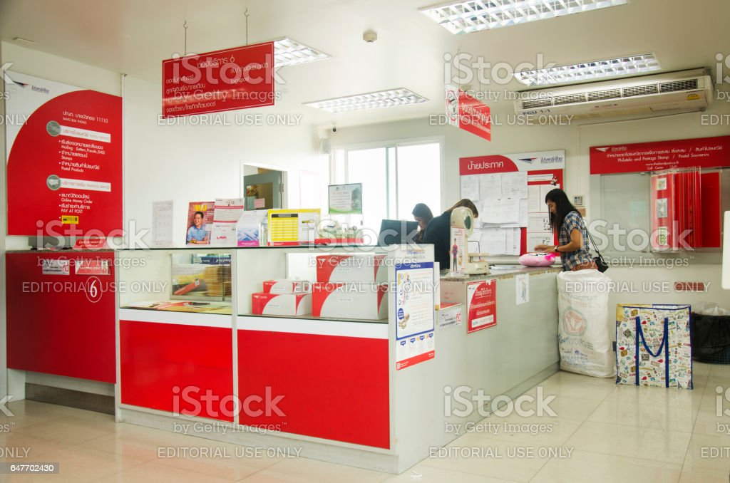 Thai people sending parcel post and employee service customer stock photo