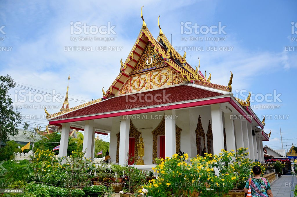 Thai people travel at Don Wai temple stock photo