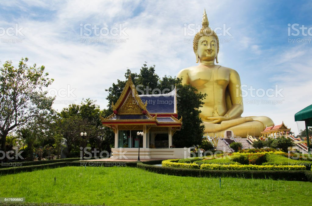 Thai people  visit and pray golden biggest Shakyamuni buddha statue stock photo