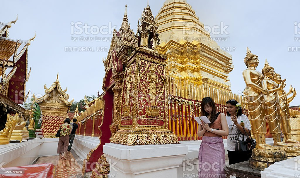 Thai people visiting the Wat Prathat Doi Suthep temple royalty-free stock photo