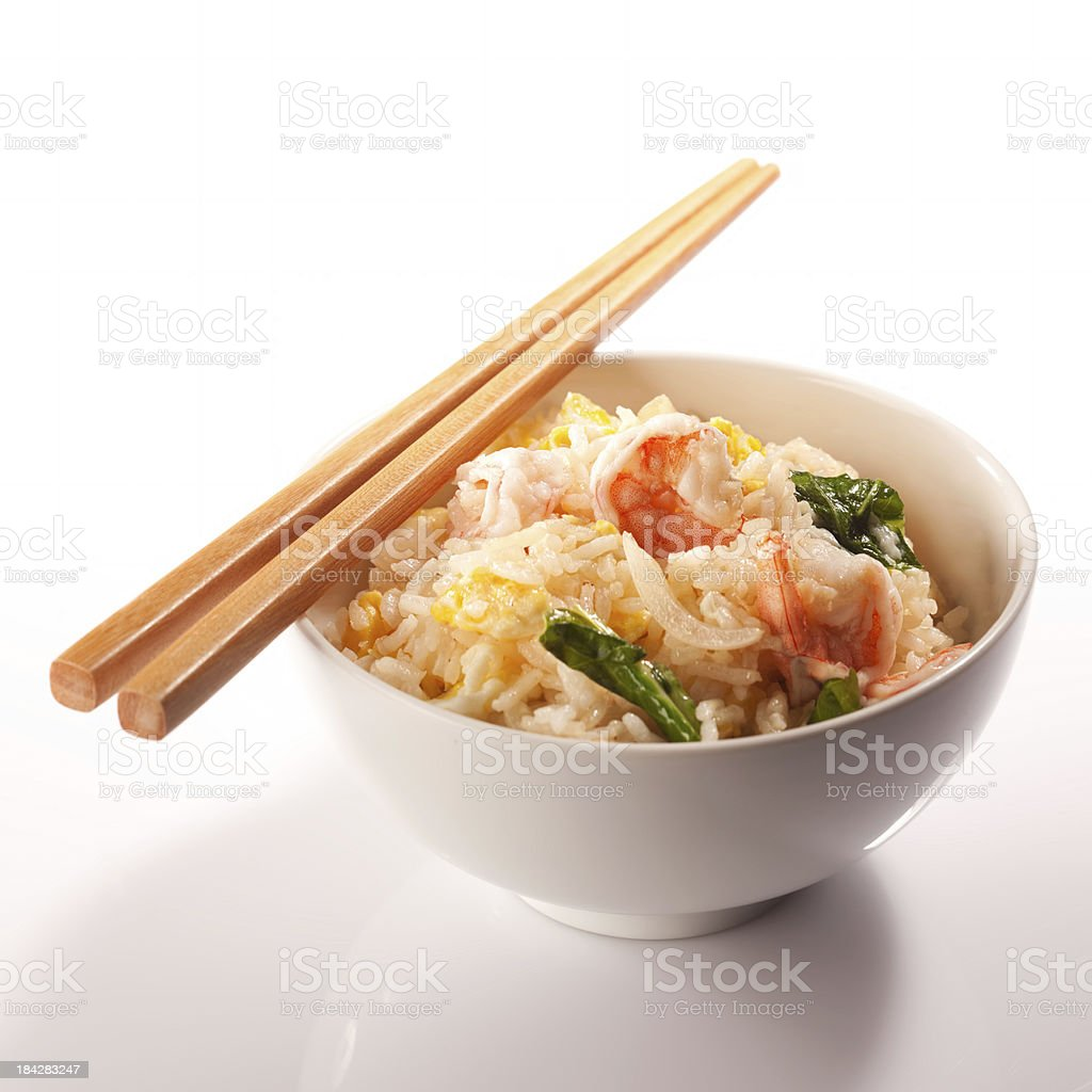 Thai prawn fried rice and chopsticks. stock photo